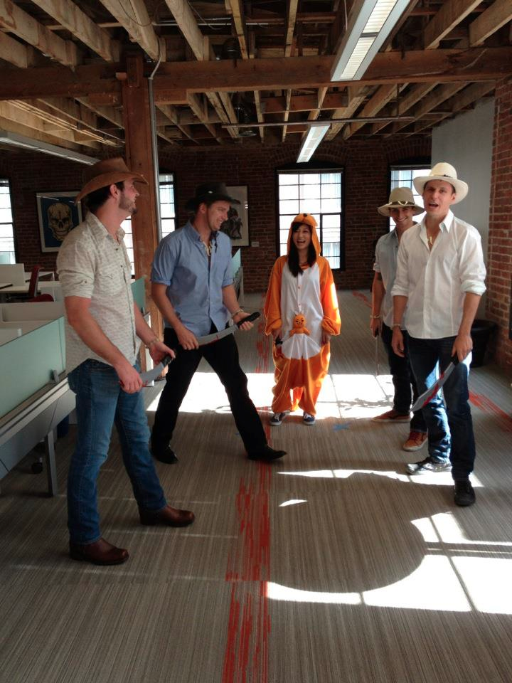 Dressed Crocodile Dundee-style to compete against other startups in a